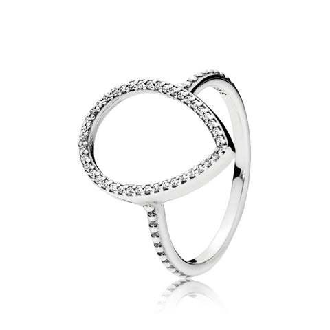 Ring in sterling silver with pear-cut clear cubic zirconia