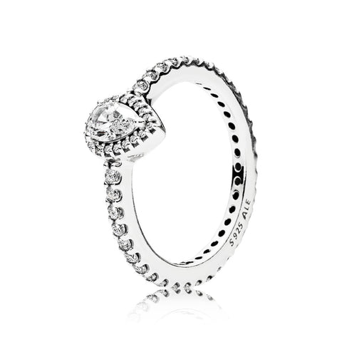 A Pandora ring with a teardrop cubic zirconia
