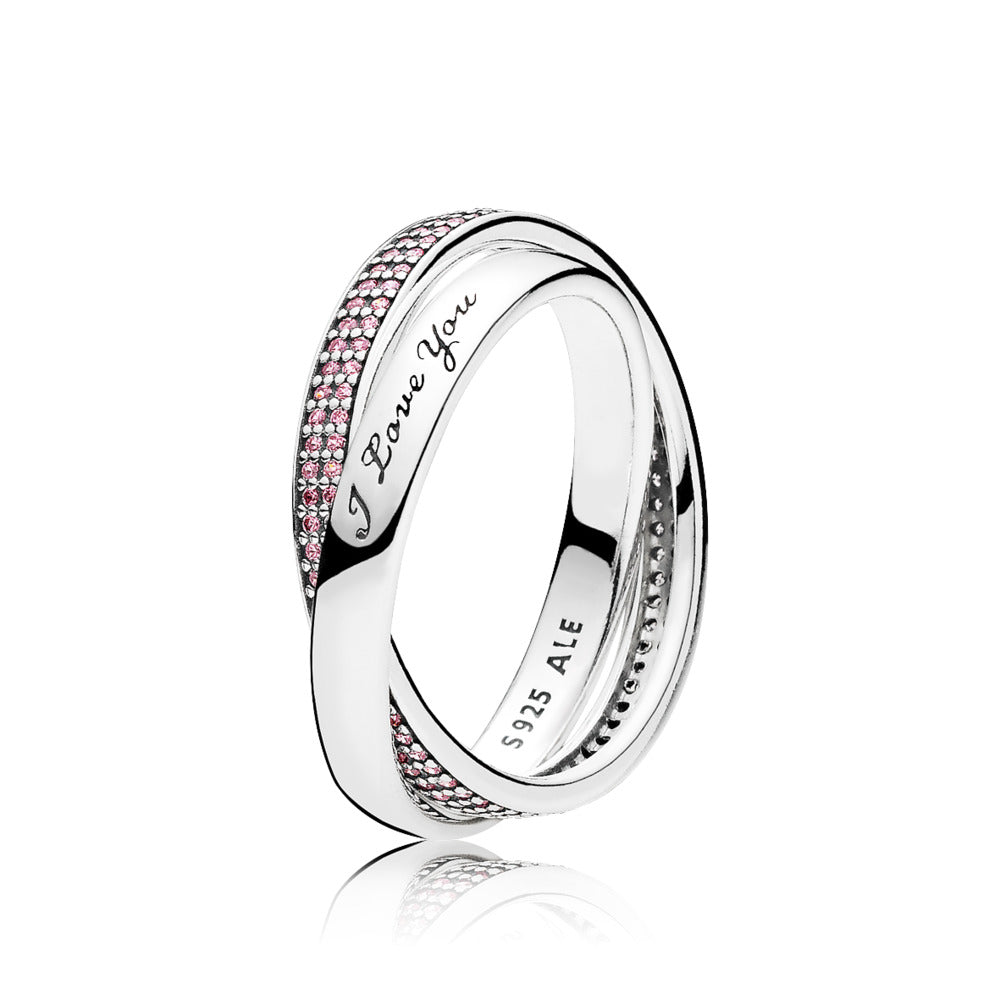 "Ring in sterling silver with pink cubic zirconia in size 54 and engraving ""I love you?"