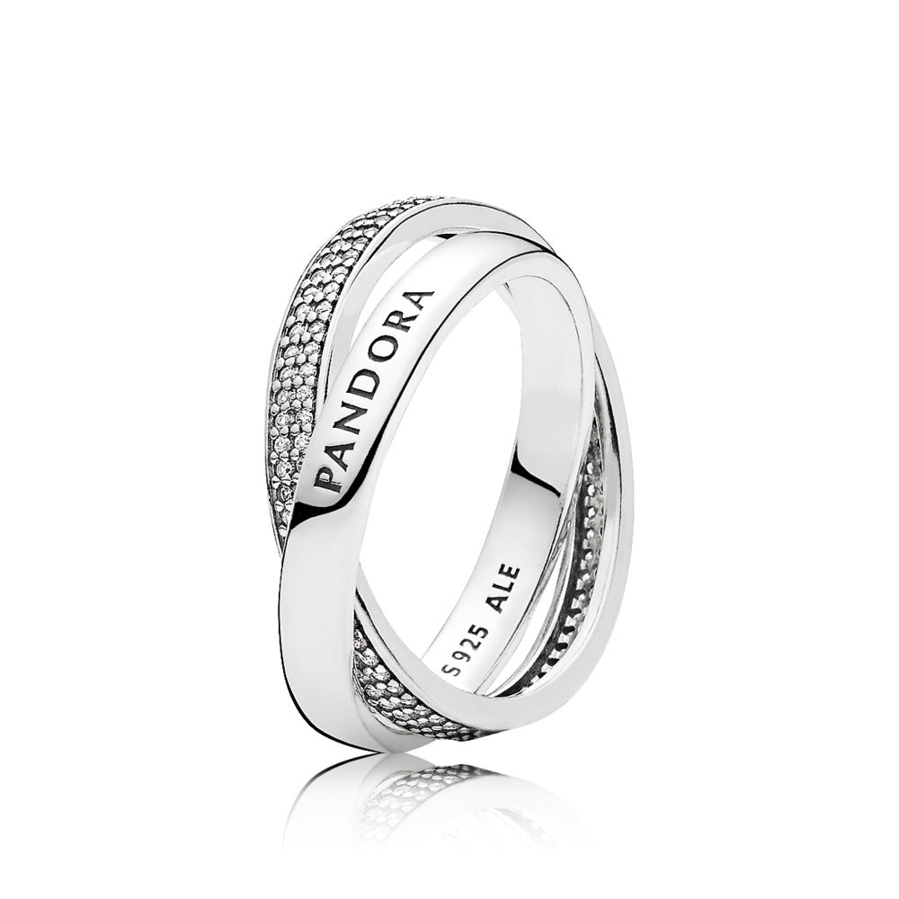Ring in sterling silver with clear cubic zirconia in size and engraving PANDORA