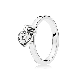 Heart padlock ring in sterling silver