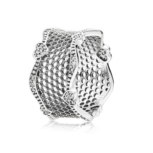 Lace of Love Ring, Clear CZ