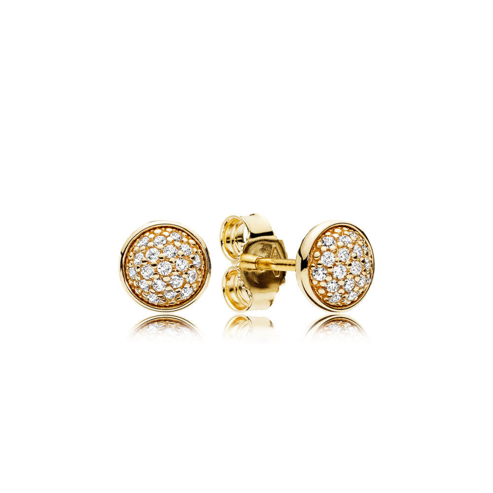 Stud earrings in 14k gold with clear cubic zirconia