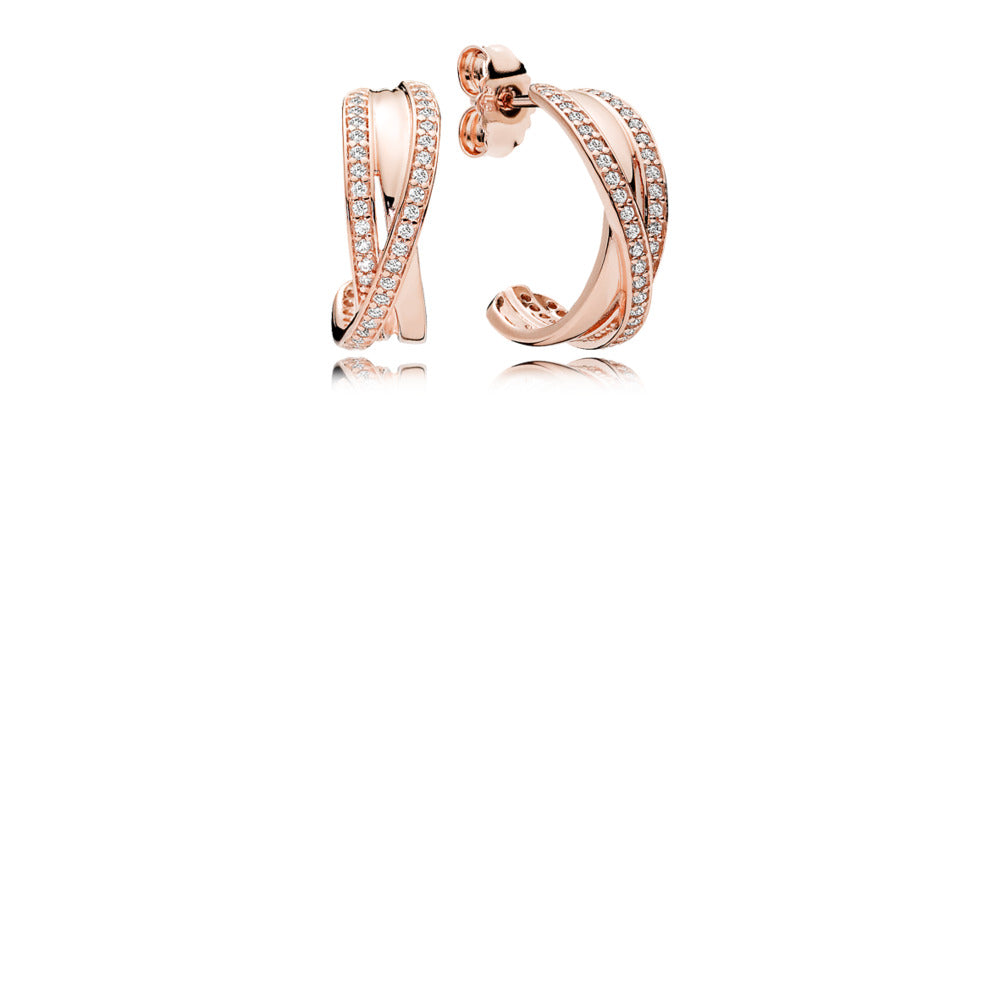 Earrings in Pandora Rose with clear Cubic Zirconia.