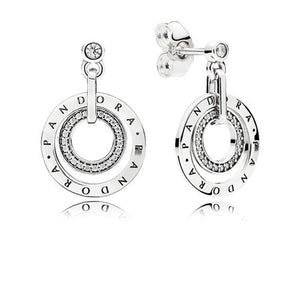 PANDORA logo earrings in sterling silver with clear cubic zirconia