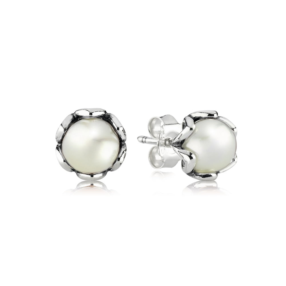 Cultured Elegance White Pearl studs by Pandora.
