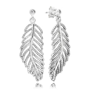 A pair of silver feather earrings by Pandora.