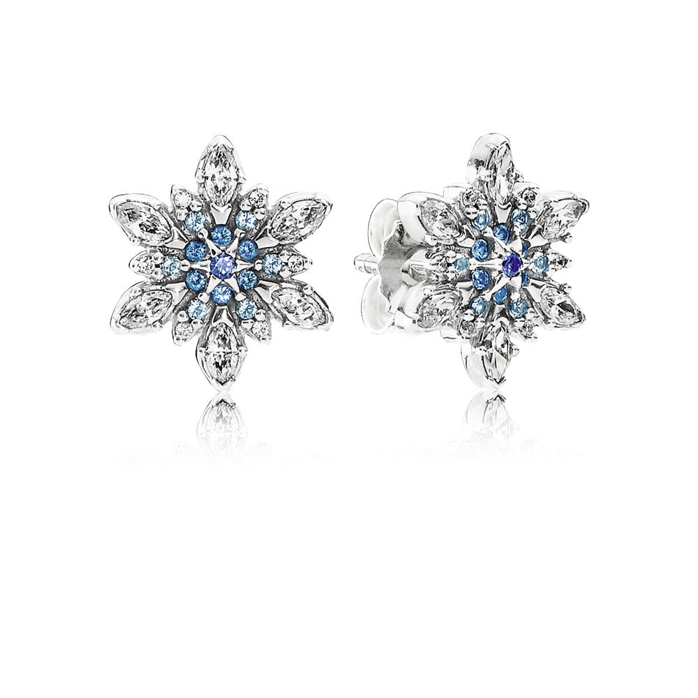 Cystalized Snowflake blue crystal studs by Pandora