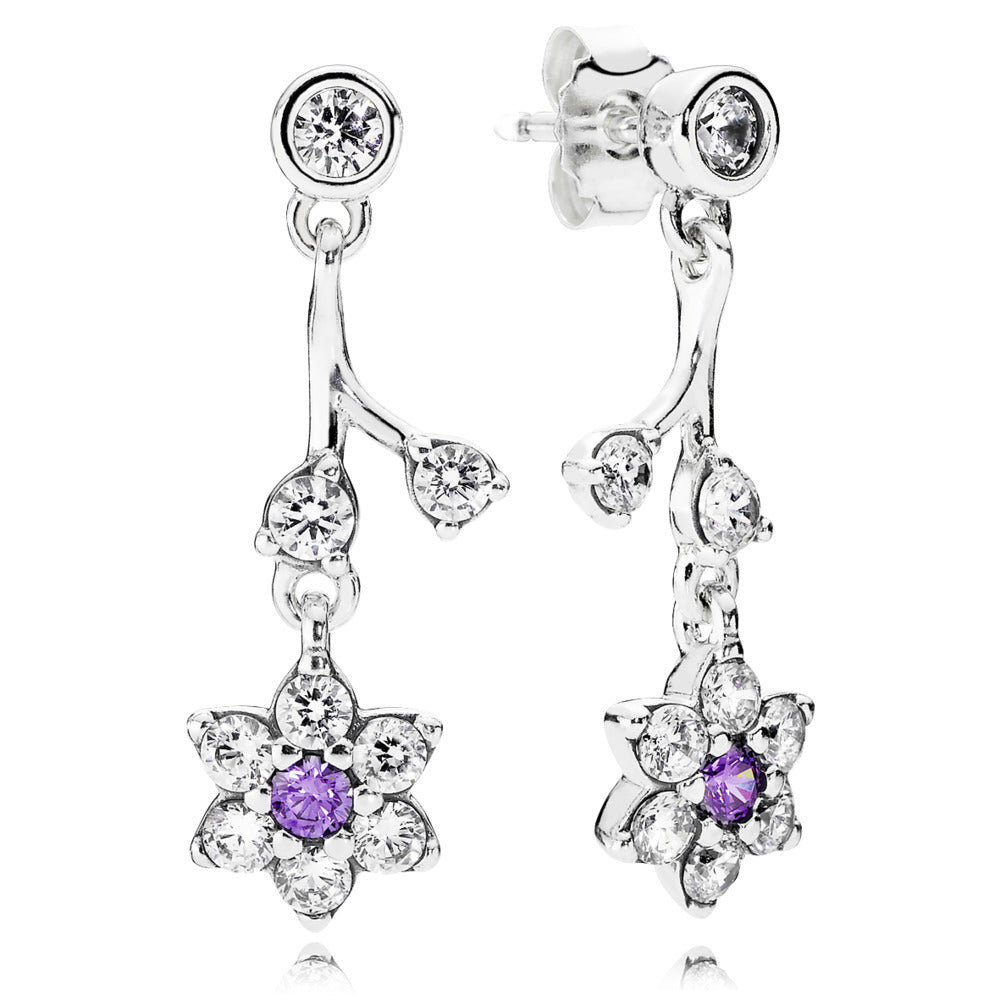 Pandora dangle earrings with Synthetic Amethyst in the center