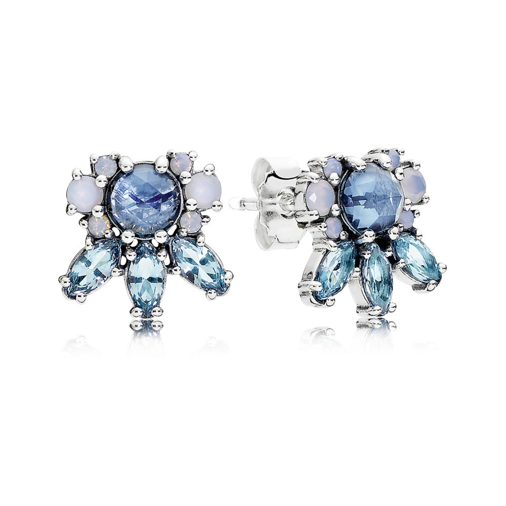 Stud Earrings Patterns of Frost with Moonlight Blue, Sky-Blue, and Opalescent White Crystals
