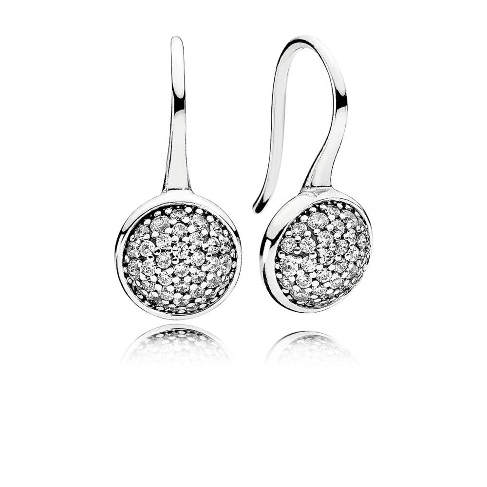 a pair of dangle earrings with cubic zirconia by Pandora.