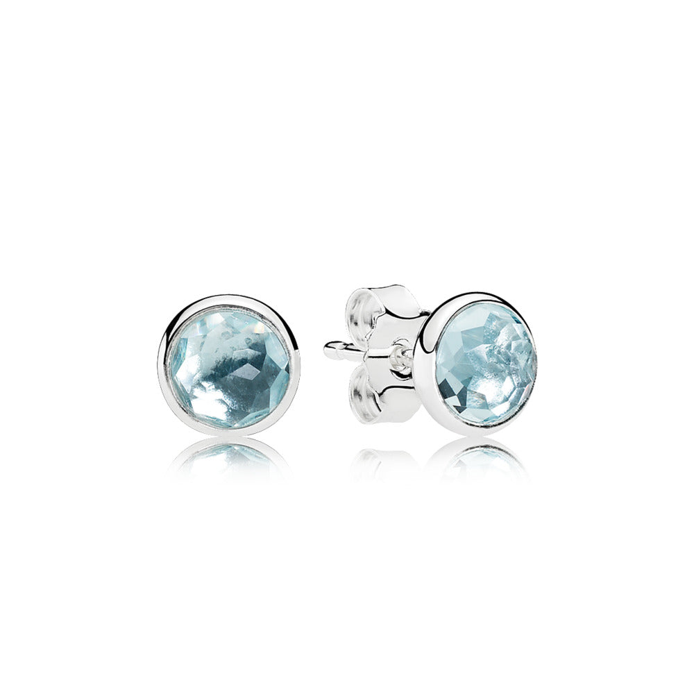 A Pandora pair of Silver Studs with Blue Crystal.