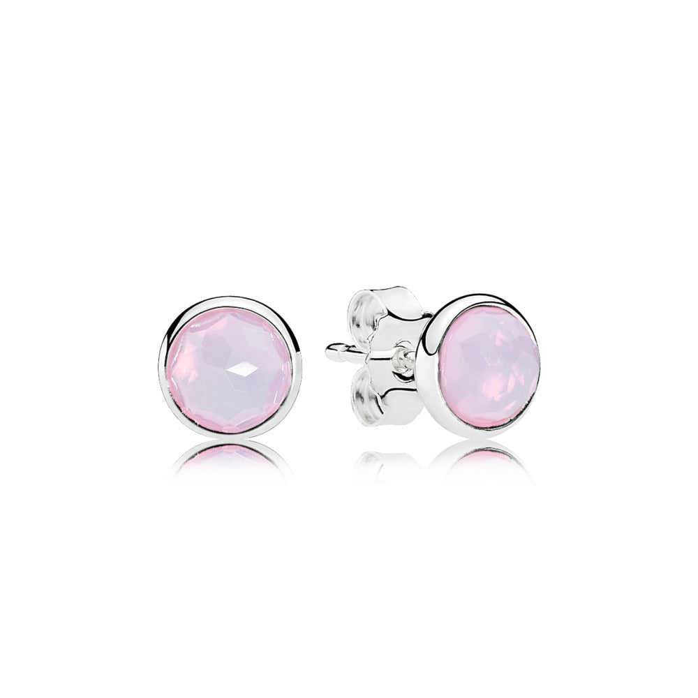 A pair of Silver Pandora Studs with Pink Crystal Centers