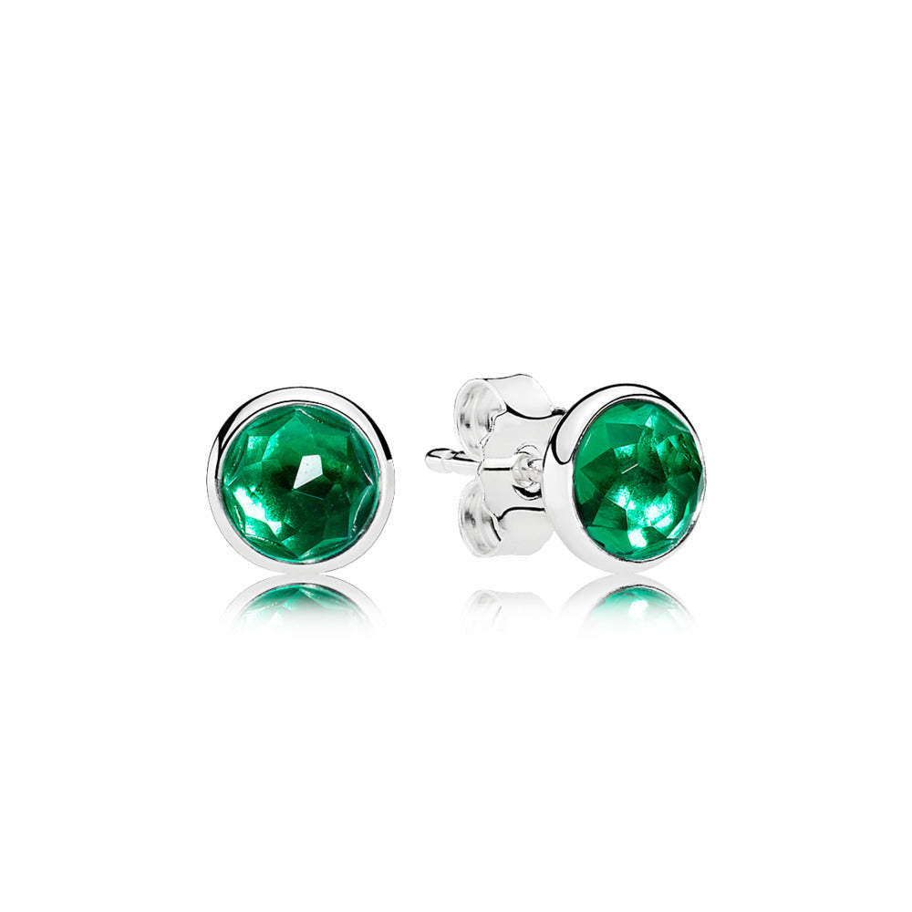 A pair of Pandora Silver Studs with Green Crystal.