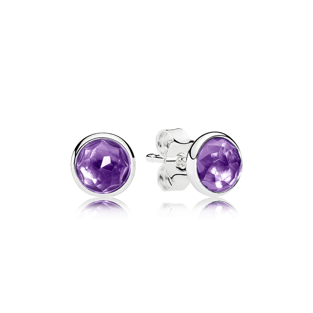 Pandora Silver Studs with Synthetic Amethyst