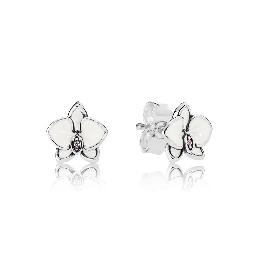 Orchids, White Enamel & Clear CZ