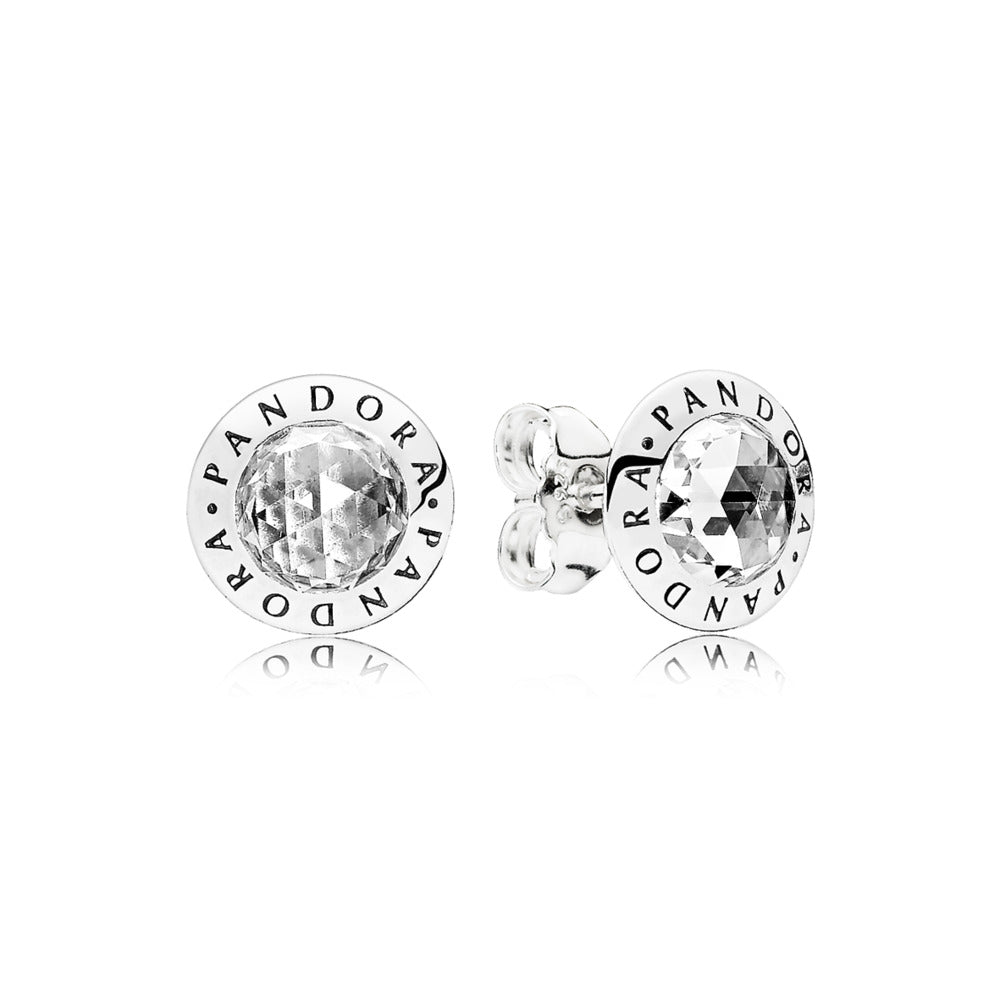 PANDORA logo stud earrings in sterling silver with clear cubic zirconia
