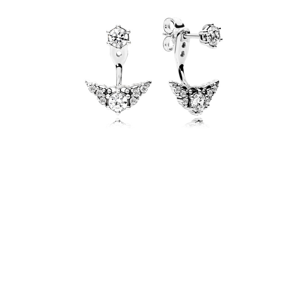 Tiara stud earrings in sterling silver with cubic zirconia and detachable earring jackets