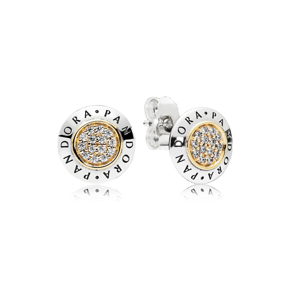 PANDORA logo stud earrings in sterling silver with 14k gold and clear cubic zirconia