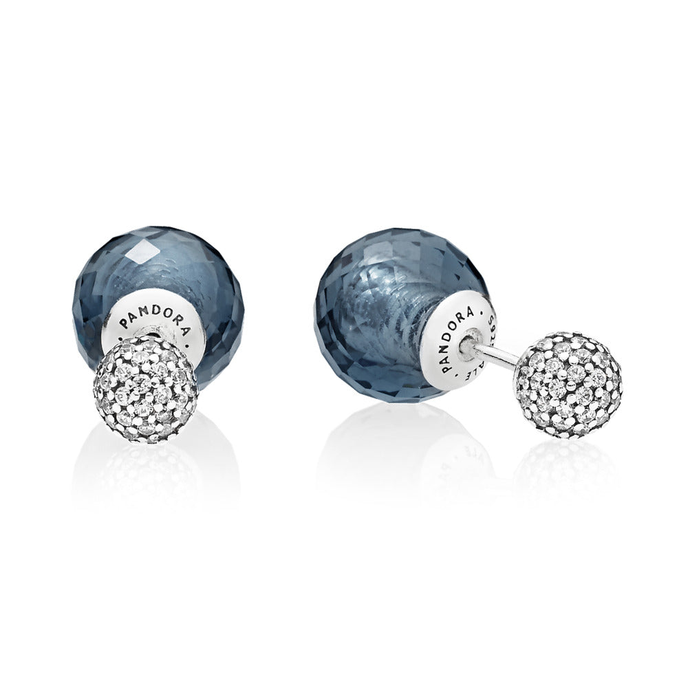 Double-sided earrings with clear cubic zirconia and midnight blue crystal with silicone inserts