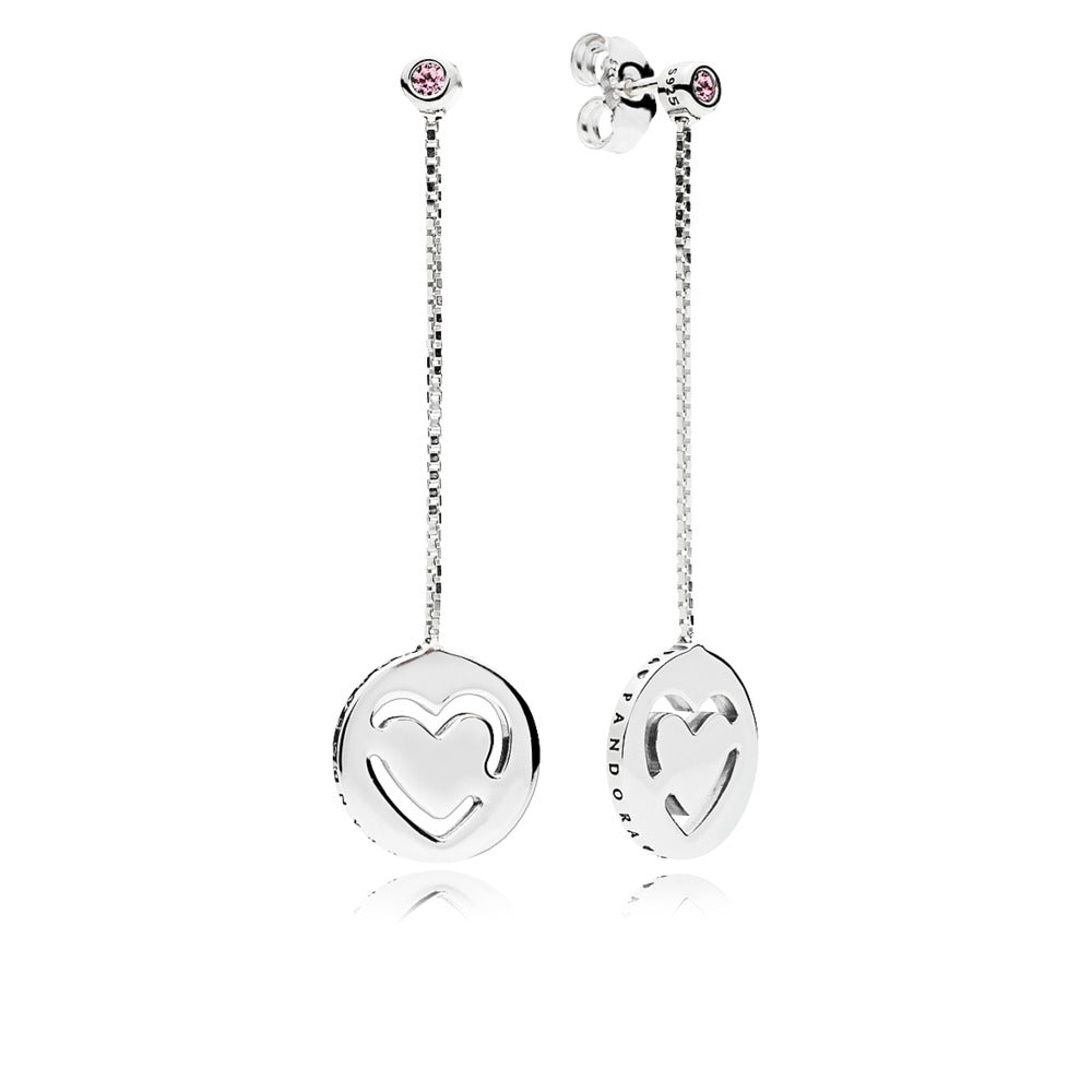 Heart earrings in sterling silver with pink cubic zirconia