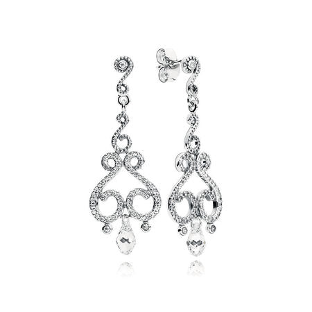 A pair of chandelier earrings in sterling silver by Pandora.