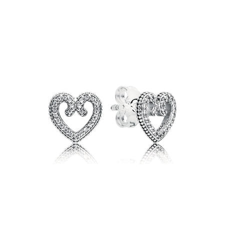 Heart stud earrings with 50 micro bead-set clear cubic zirconia