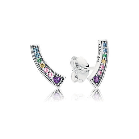 Stud earrings in sterling silver with 2 bead-set heart-shaped royal purple crystals, 4 bead-set orch