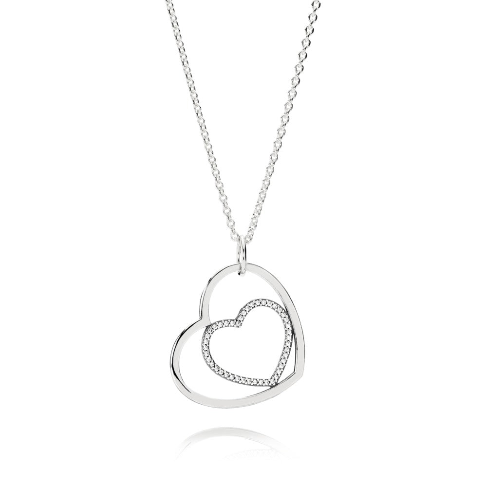 a heart necklace by Pandora