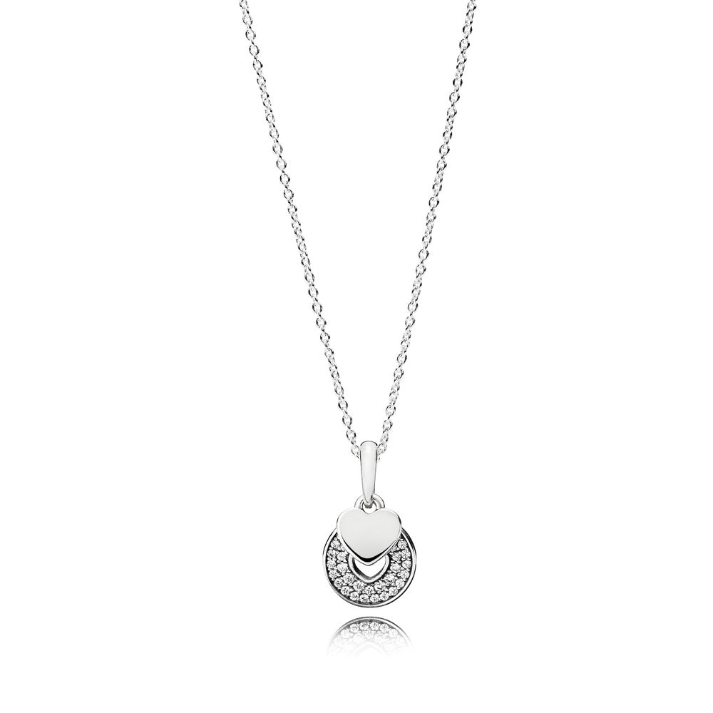 A silver heart necklace by Pandora with Cubic Zirconia here in Santa Fe.