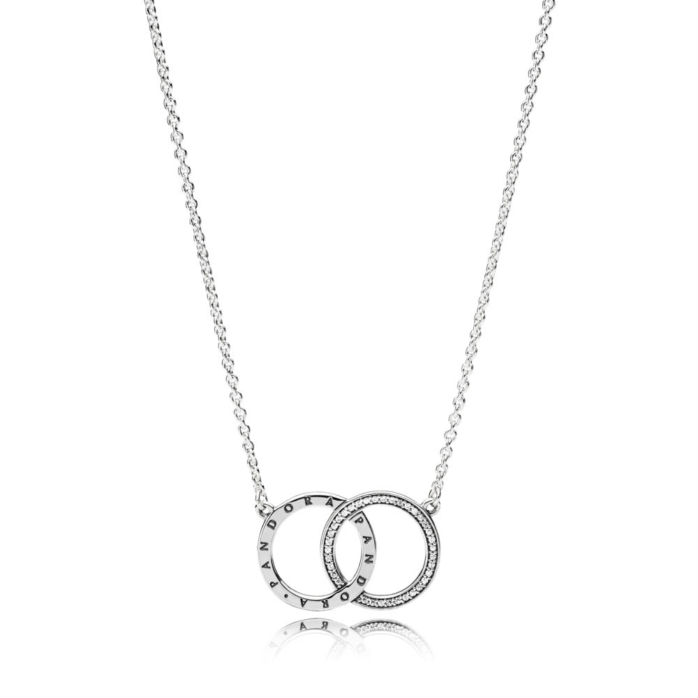 PANDORA logo necklace in sterling silver with clear cubic zirconia adjustable to 42-38 cm