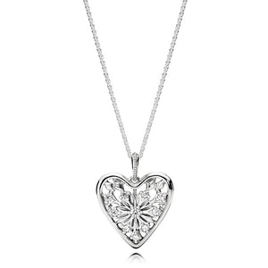 Ice crystal pendant in sterling silver with clear cubic zirconia and 80 cm chain with sliding clasp