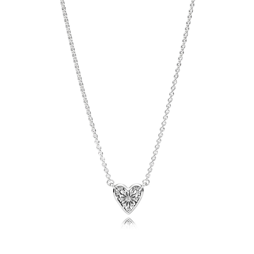 Ice crystal necklace in sterling silver with clear cubic zirconia, adjustable to 42 cm and 38 cm