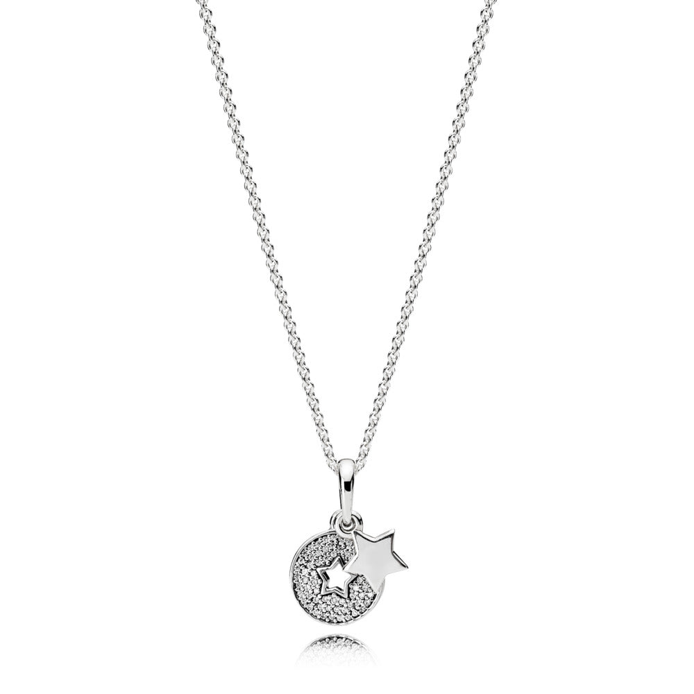 Star pendant in sterling silver with clear cubic zirconia and 70 cm chain with sliding clasp