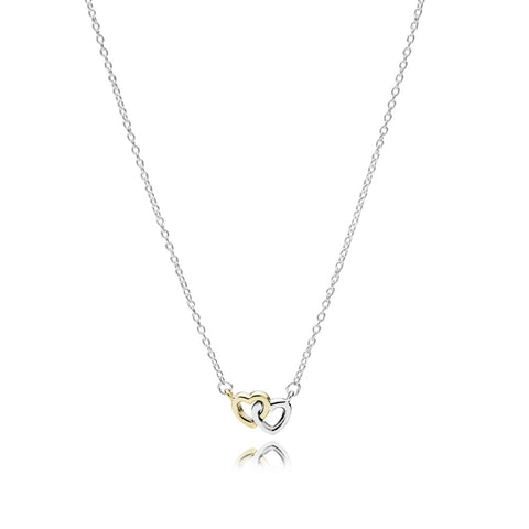 Necklace United in Love with 14K Gold and Clear Cubic Zirconia