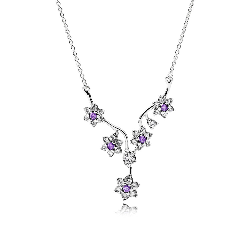 Necklace Forget Me Not with Purple and Clear Cubic Zirconia