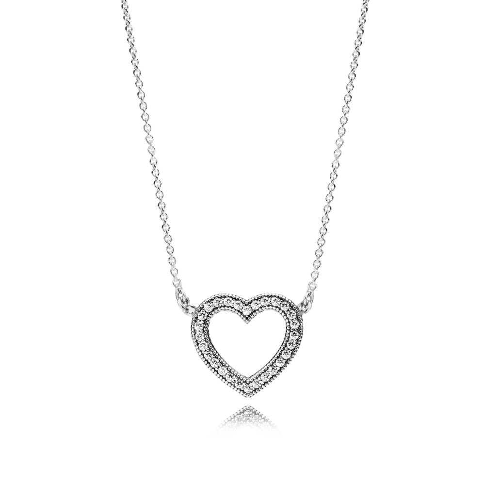 Necklace Loving Hearts of PANDORA with Clear Cubic Zirconia