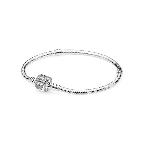 Sterling Silver w/ Signature Clasp, Clear CZ