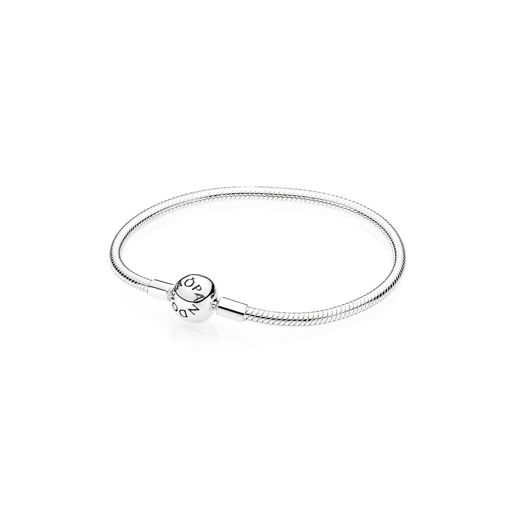 Sterling Silver Smooth Bracelet with Round Clasp