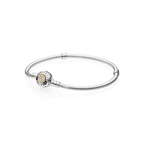 PANDORA Signature Closed Bangle w/ 14k Gold, Clear Cz