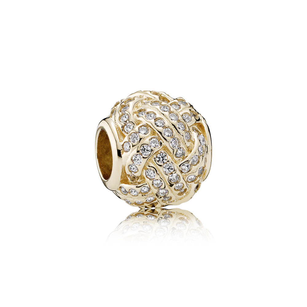 Sparkling love knit in 14k Gold charm by Pandora.