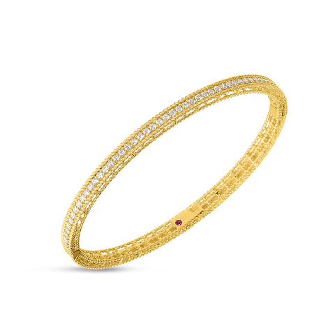 A wonderful yellow gold bangle made by Roberto Coin Santa Fe Jewelry.