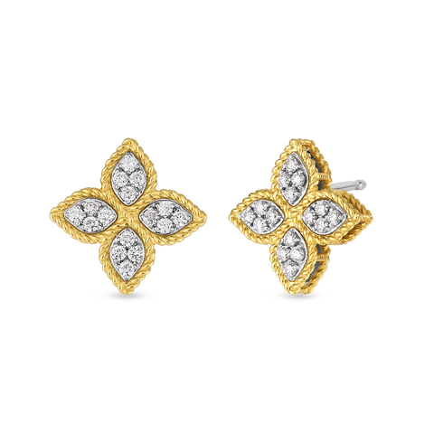 A pair of flower diamond earrings made by Roberto Coin Santa Fe Jewelry