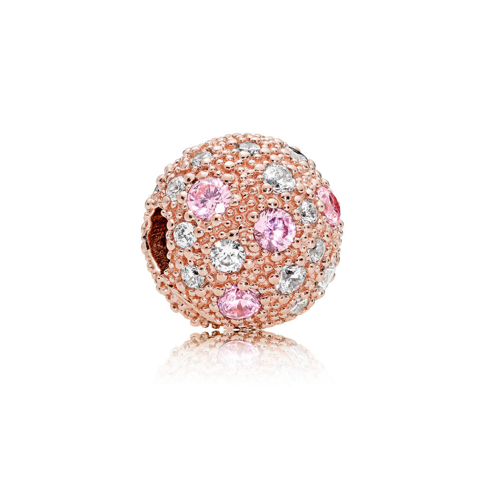 Clip in PANDORA Rose with pink and clear cubic zirconia