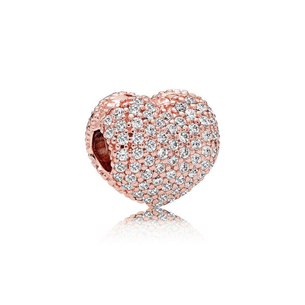 Heart clip in PANDORA Rose with 142 pavé-set clear cubic zirconia