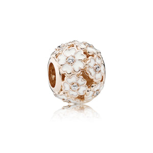 PANDORA Rose Charm White Primrose Meadow with White Enamel and Clear Cubic Zirconia