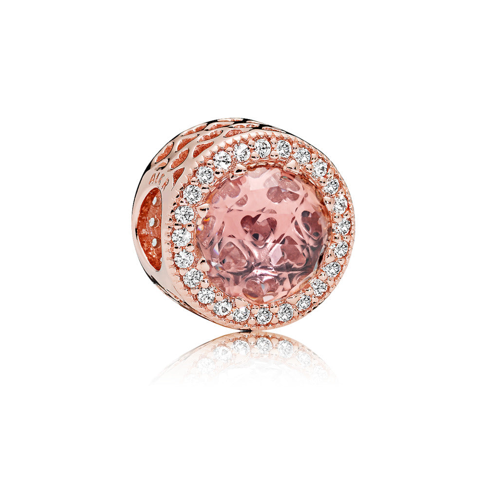 A pink glass charm by Pandora Jewelry Santa Fe.