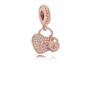 Heart padlock dangle in PANDORA Rose with clear cubic zirconia
