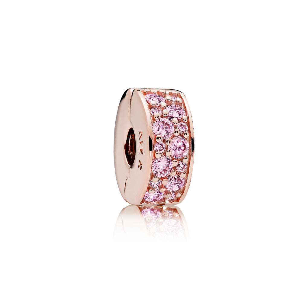 Clip in PANDORA Rose with 28 bead-set pink cubic zirconia and silicone grip
