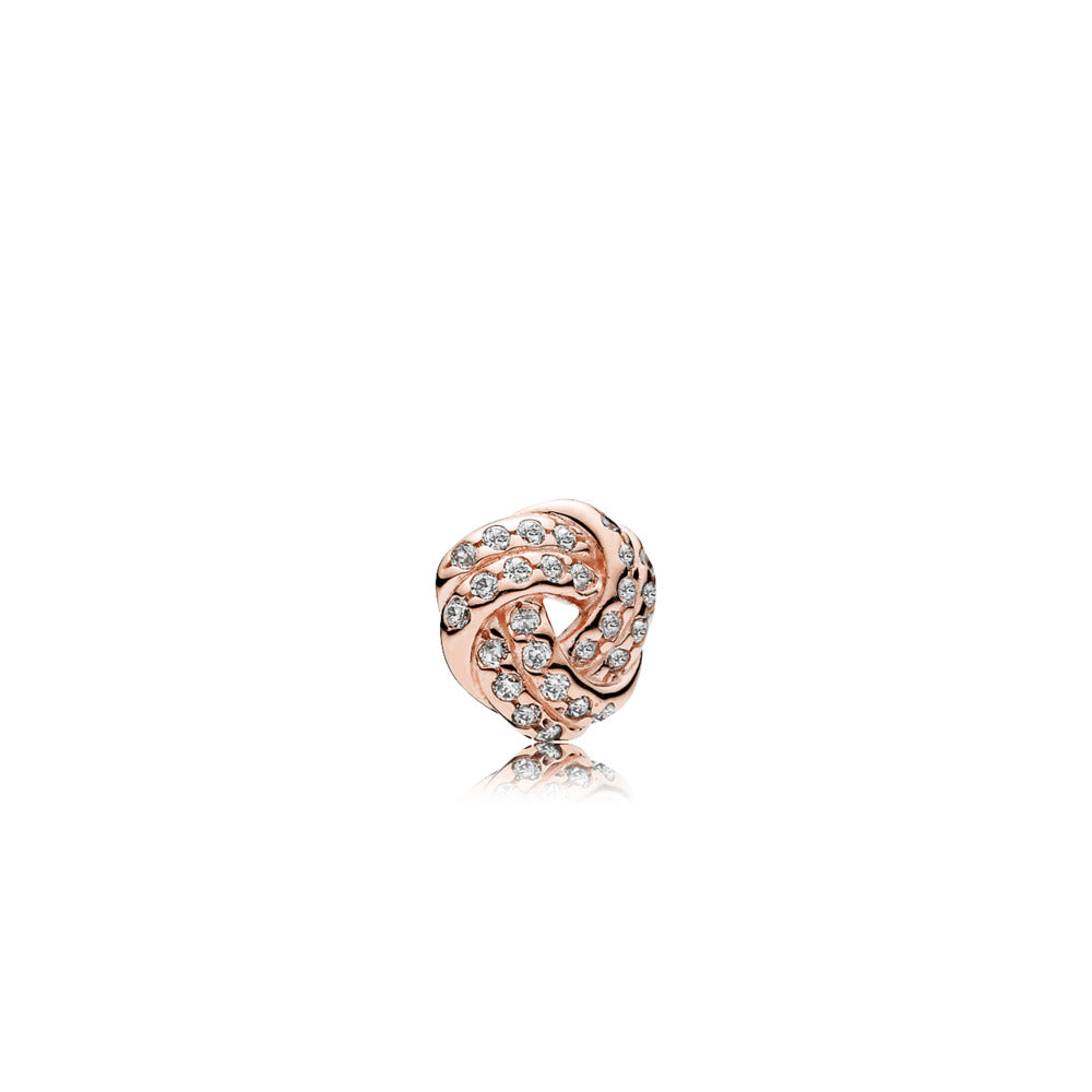 Love knot petite element in PANDORA Rose with 27 bead-set clear cubic zirconia